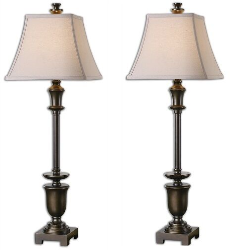 set 2 oil rubbed bronze table lamps column buffet candlestick pair. Black Bedroom Furniture Sets. Home Design Ideas