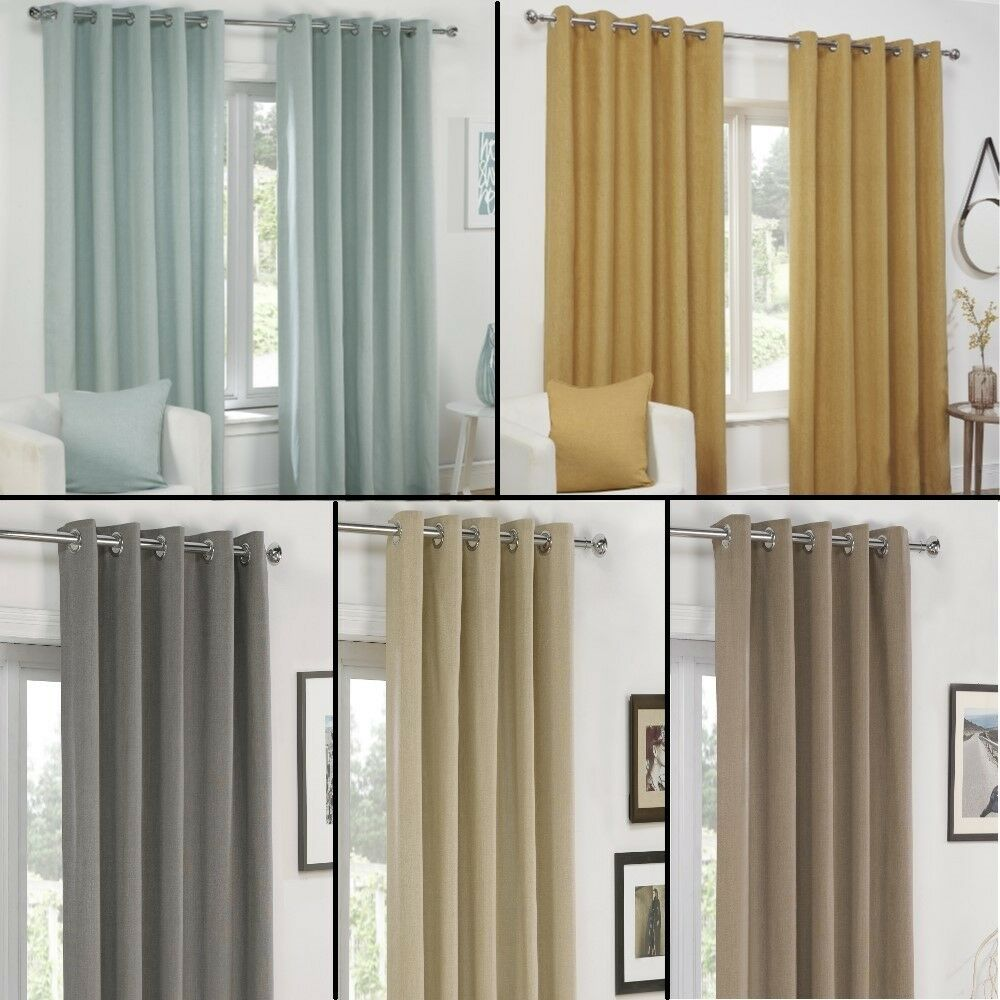 Plain Eyelet Ring Top Fully Lined Pair Ready Made Curtains