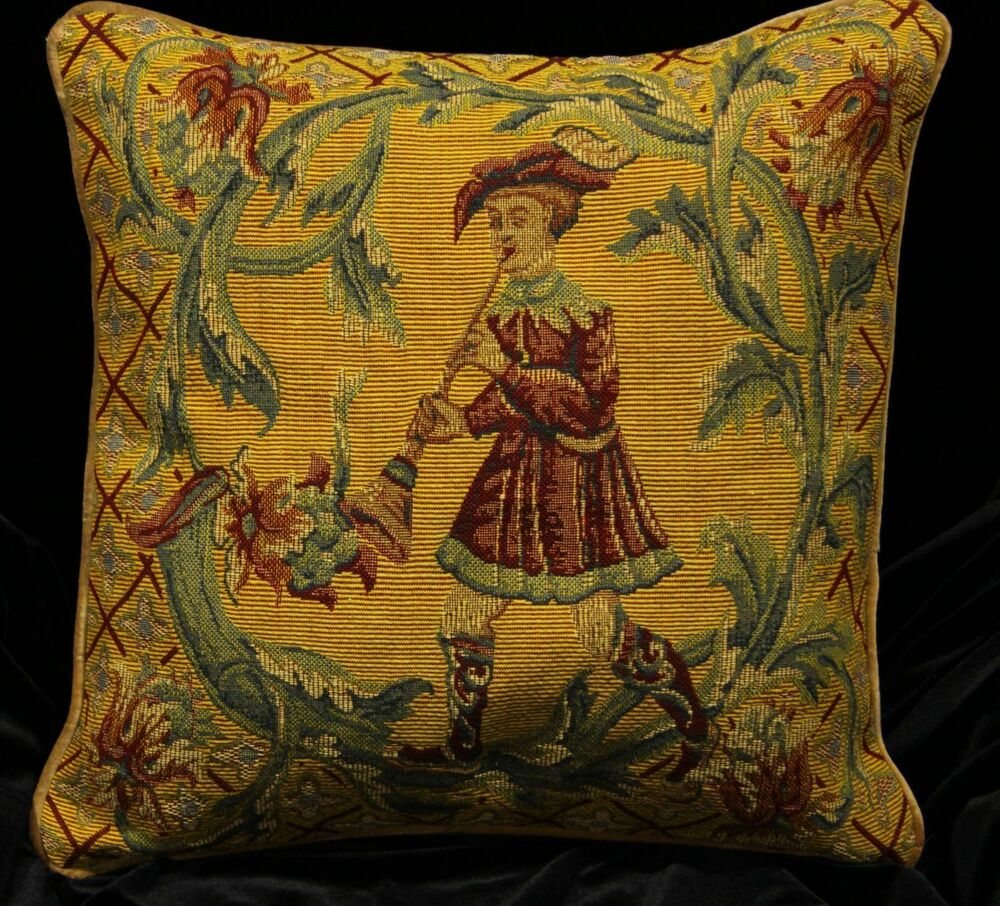 Decorative Tapestry Throw Pillows : DECORATIVE PILLOW COVER Medieval Tapestry Throw Cushion BOY & FLUTE Sofa Scatter eBay