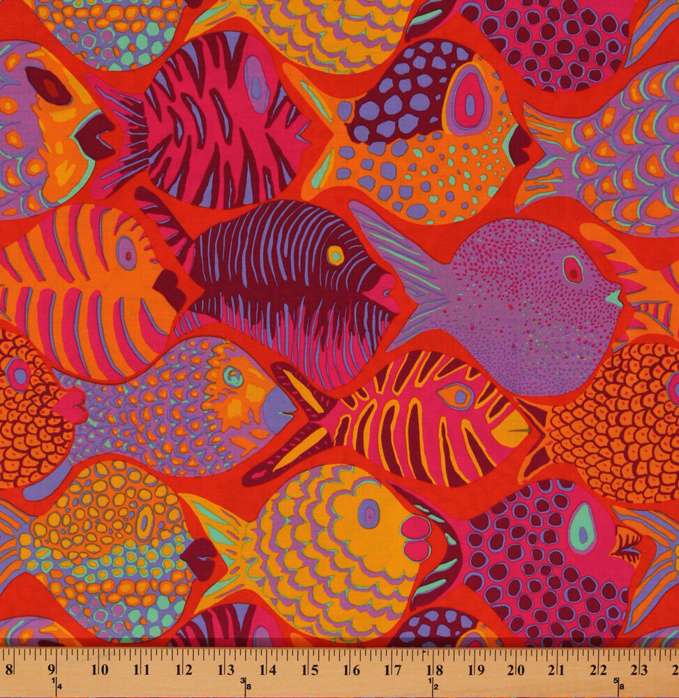 Cotton brandon mably shoal tropical fish cotton fabric for Fish fabric by the yard
