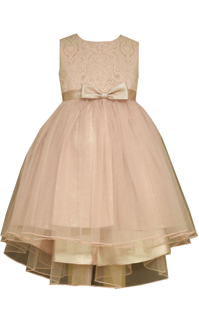 Bonnie Jean Big Girls Special Occasion Wedding Pink Bow Ballerina Dress 7 16