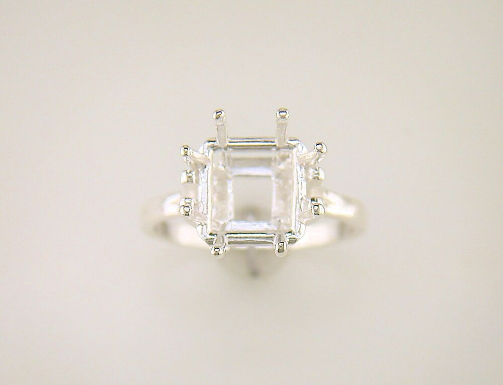 eight prong square solitaire ring setting sterling silver