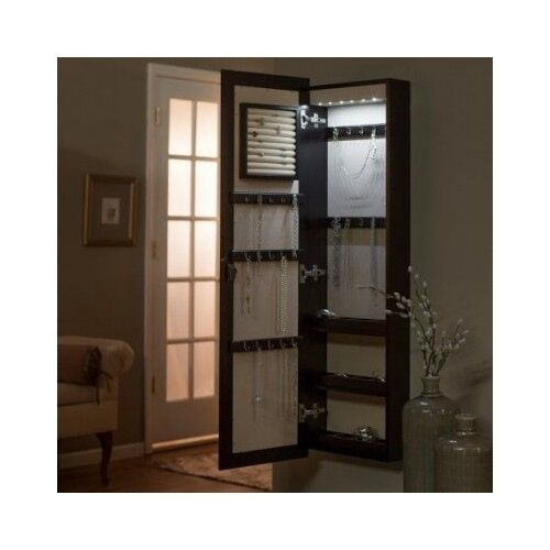 Mirror Jewelry Armoire Box Hidden Storage Organizer Light