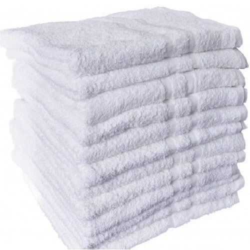 150 New White Cotton Hotel Washcloth Towels 12x12 Royal