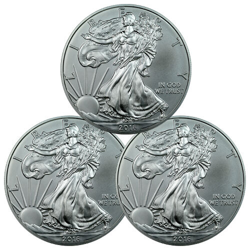 Lot Of 3 2016 1 Troy Oz 999 Fine American Silver Eagle