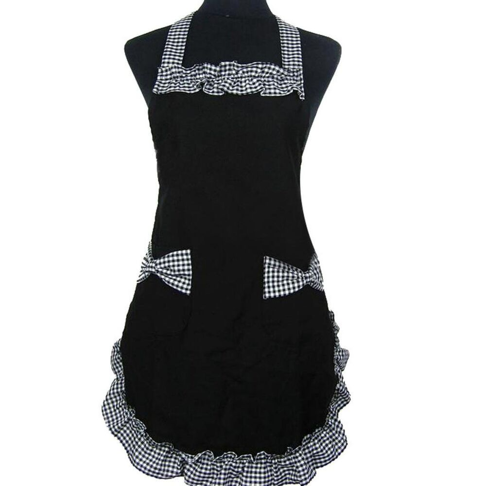 Womens ladies fancy maid set apron with bowknots pockets ebay