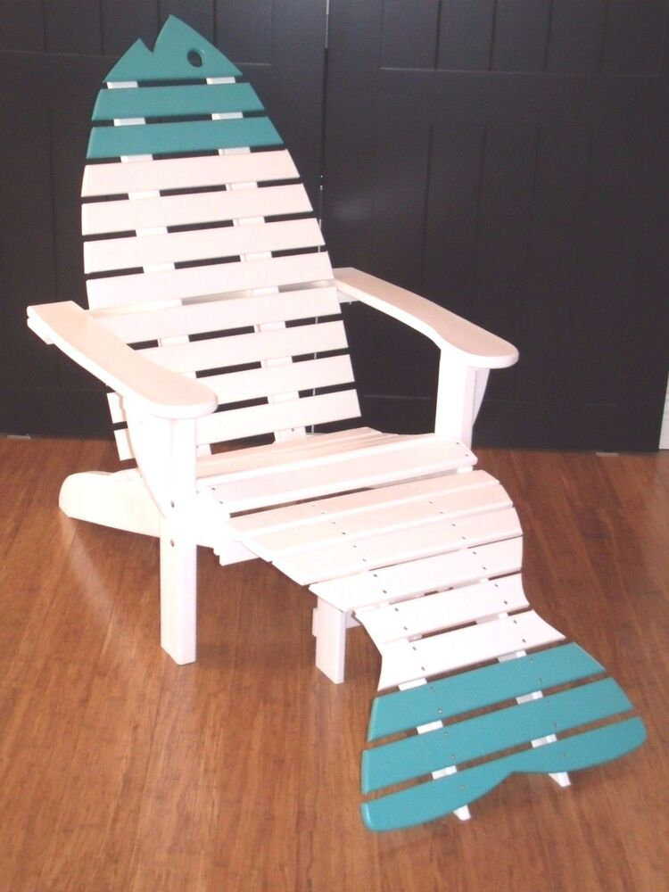 Poly Fish Adirondack Chair With Ottoman Premium Colors