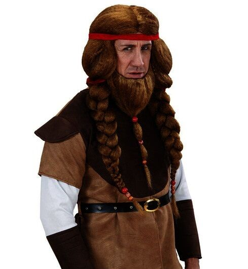 brown warrior wig mens viking celtic medieval fancy dress beard braids ebay. Black Bedroom Furniture Sets. Home Design Ideas