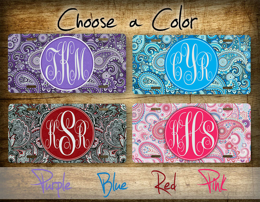 Car Tags: Paisley Personalized Monogrammed License Plate Pink Red