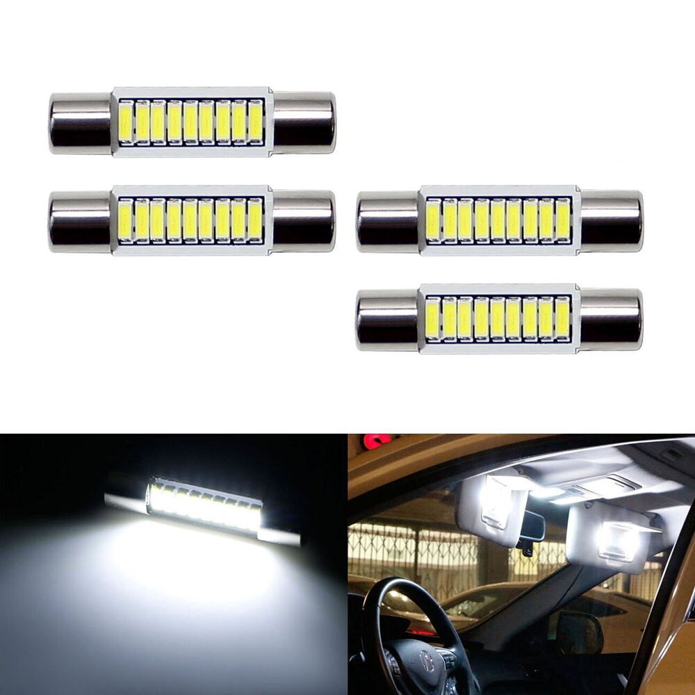 4 pc white 9 smd 29mm 6641 led bulbs for car vanity mirror lights sun visor l. Black Bedroom Furniture Sets. Home Design Ideas