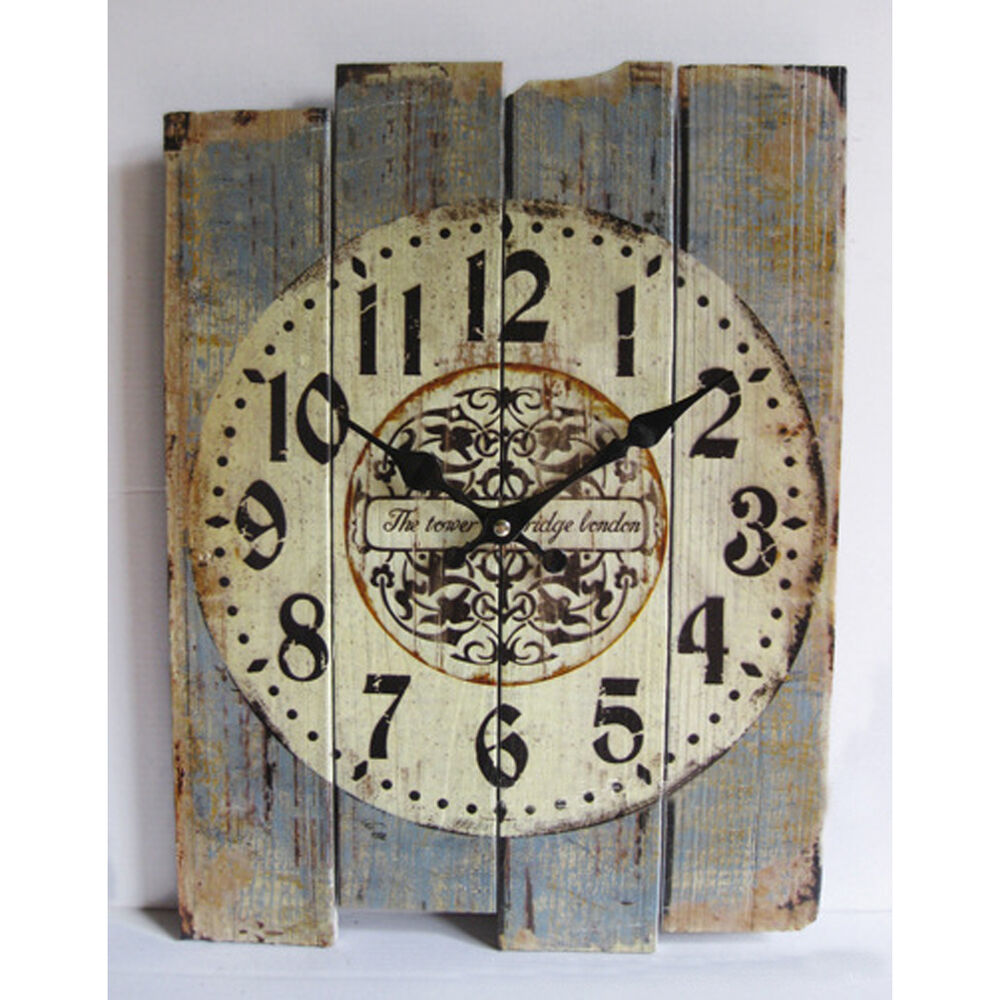 Retro antique silent no ticking wood wall clock shabby for Antique wall decor