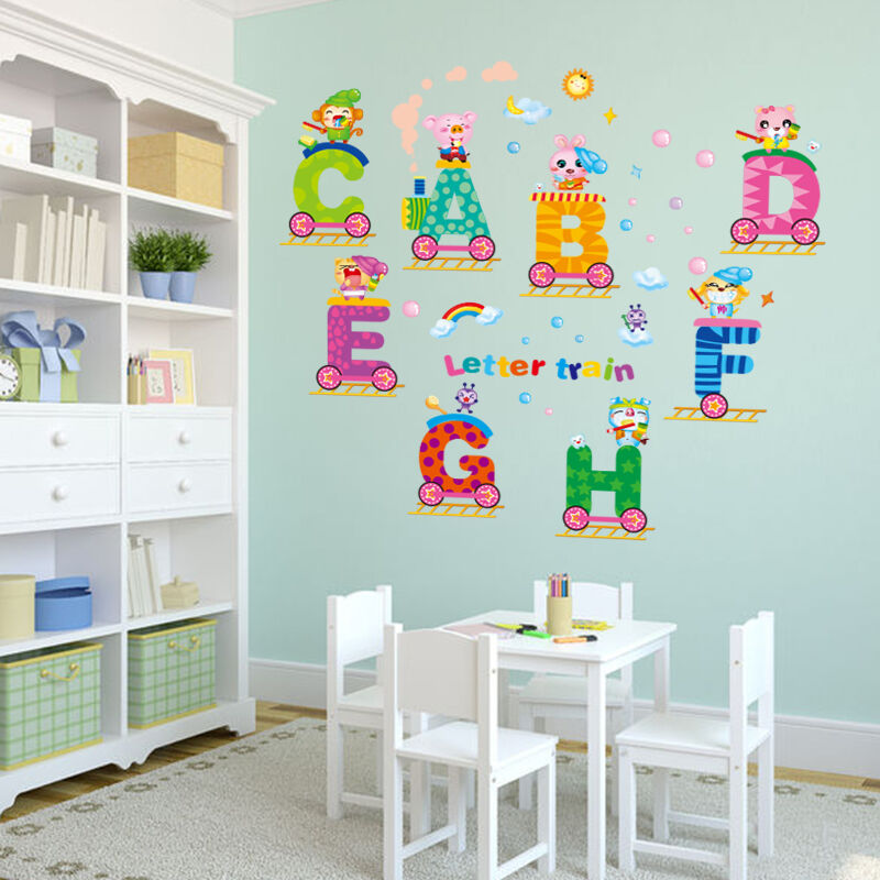 Cute animal letters train wall sticker removable pvc for Baby room decoration letters