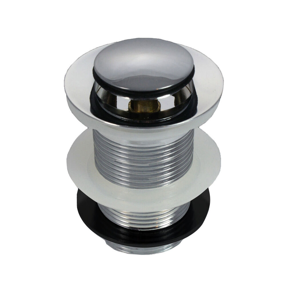 Chrome Unslotted Click Clack Basin Sink Tap Push Button Waste Disc Pop Up Plug Ebay