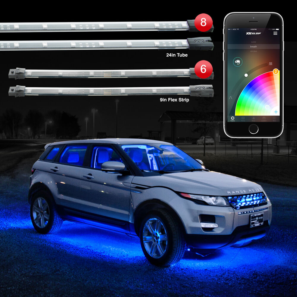 xkglow xkchrome bluetooth app car truck interior underglow led light kit ebay. Black Bedroom Furniture Sets. Home Design Ideas