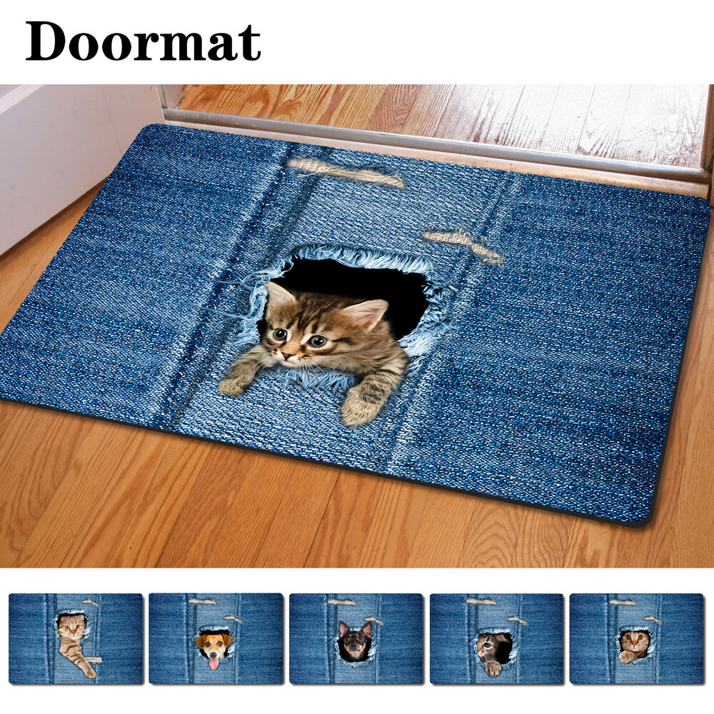 Blue Kitchen Rug: Animals Cat Anti-slip Floor Mat Entrance Door Rug Carpet