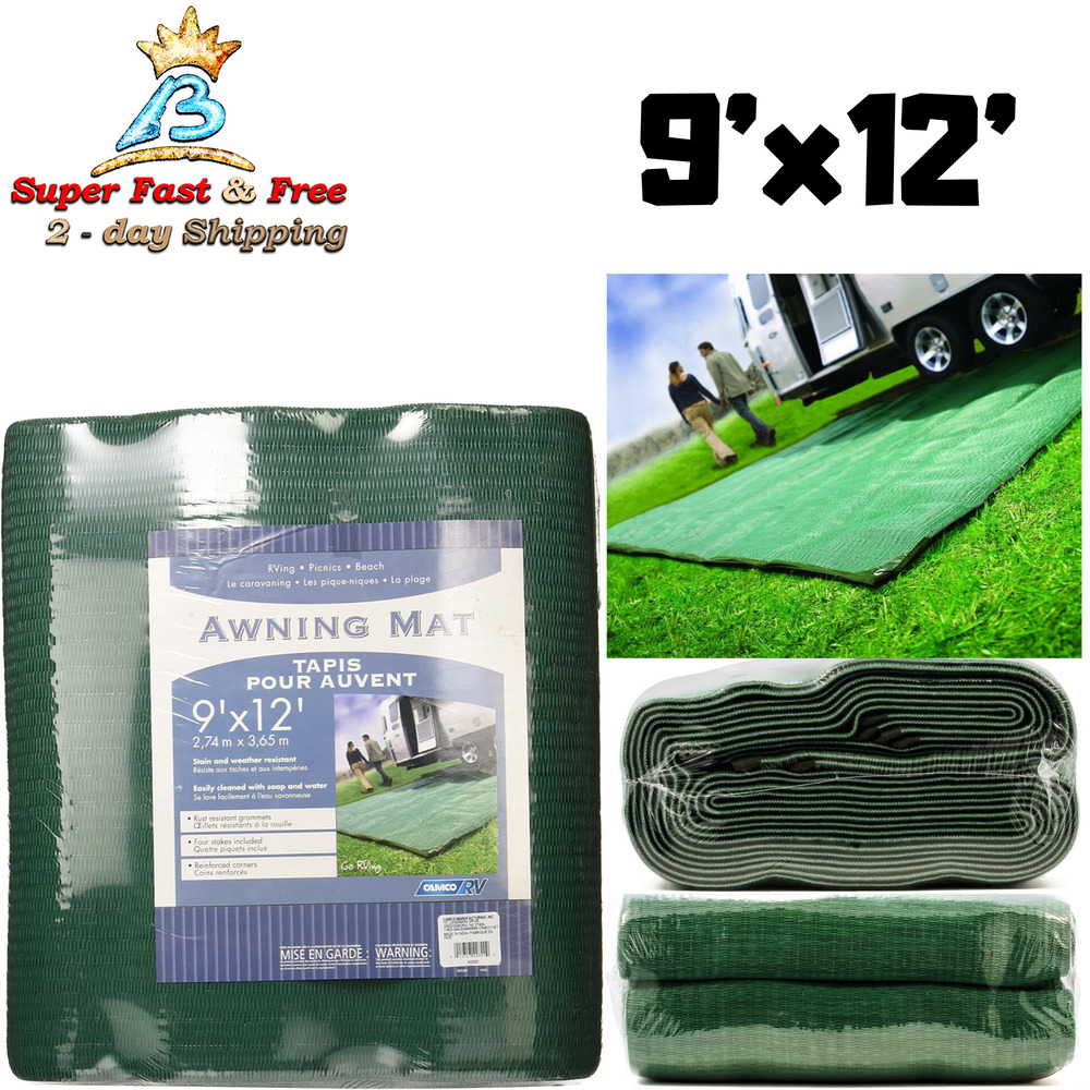 Camping Reversible Outdoor Mat Rv Rest Green Patio Awning