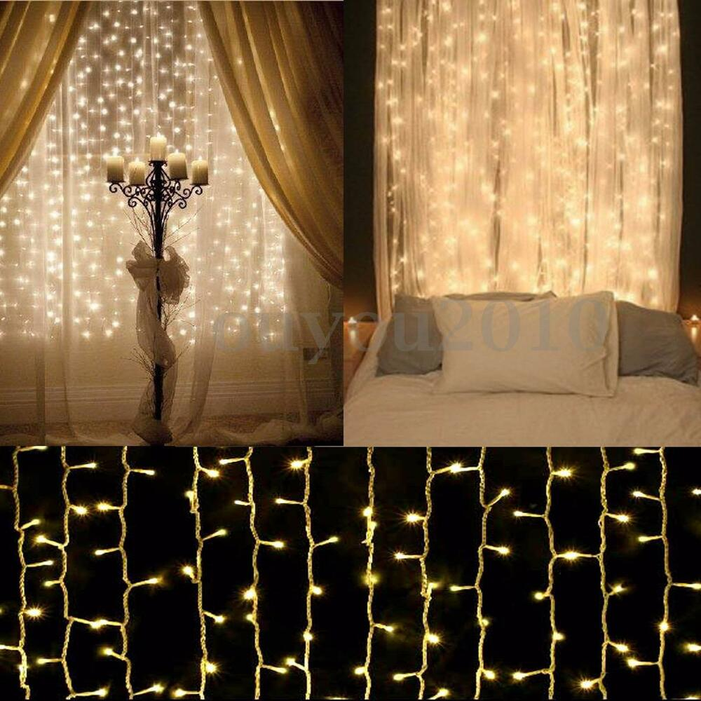 300 600 led fairy string curtain light wedding xmas party. Black Bedroom Furniture Sets. Home Design Ideas