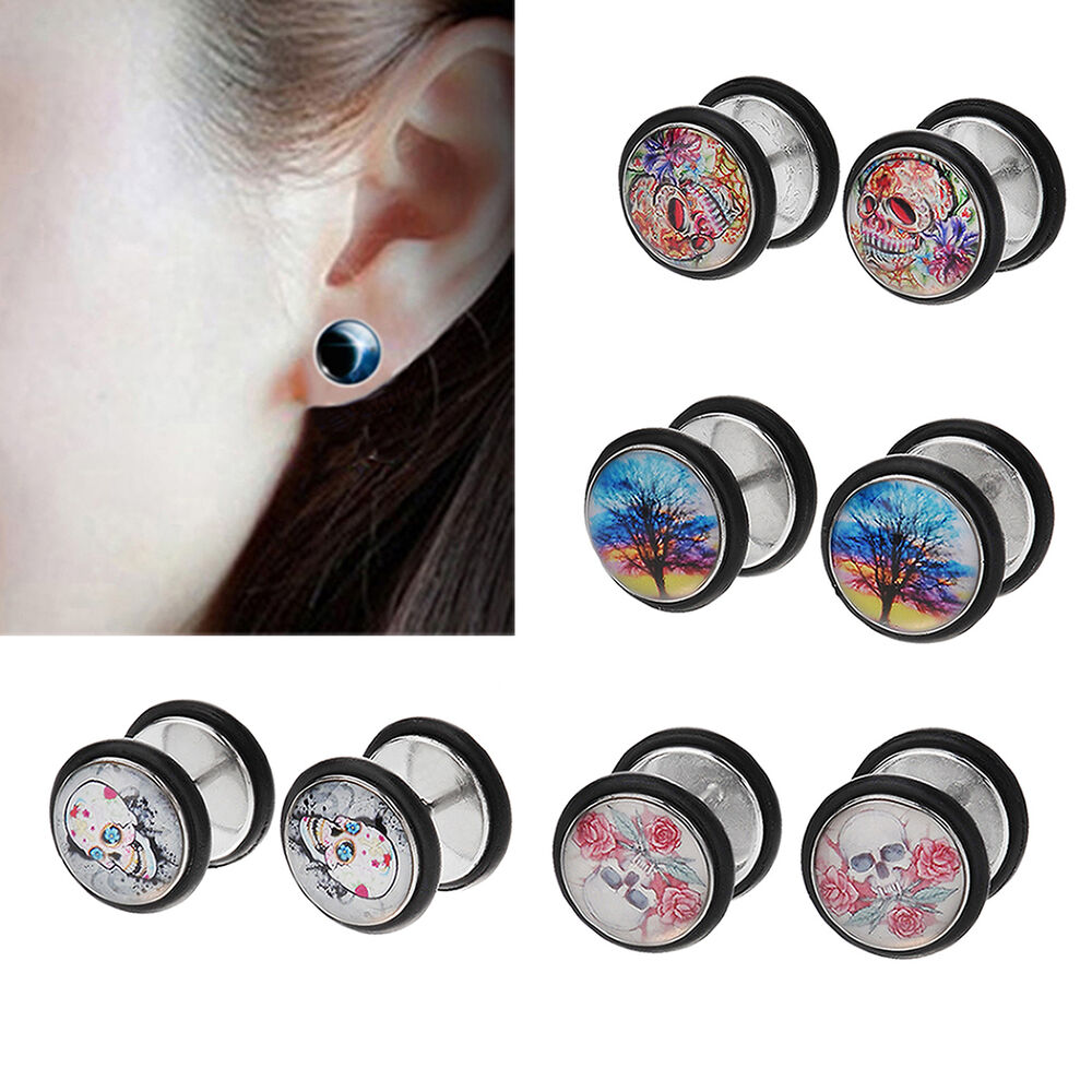 High 1 Pair Cheater Faux Fake Ear Plugs Gauges Tapers ...