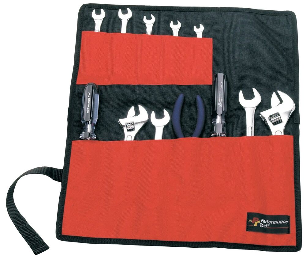 red black small wrench roll rollup 12 pocket tool capacity carrier tools bag new ebay. Black Bedroom Furniture Sets. Home Design Ideas