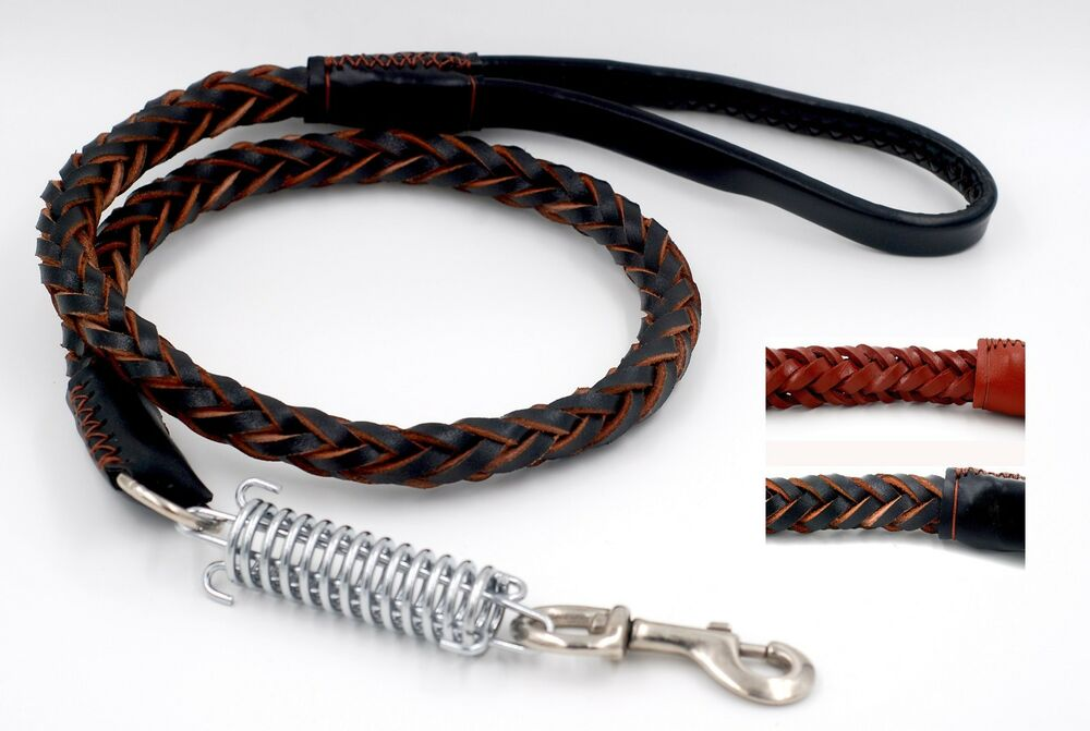 Braided Heavy Duty Leather Dog Leash Lead With Spring For