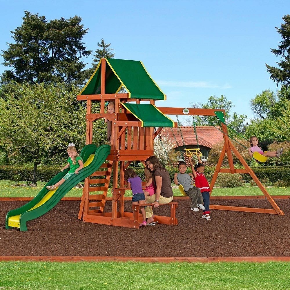 Outdoor Playground Playset Wooden Swing Set Slide Backyard