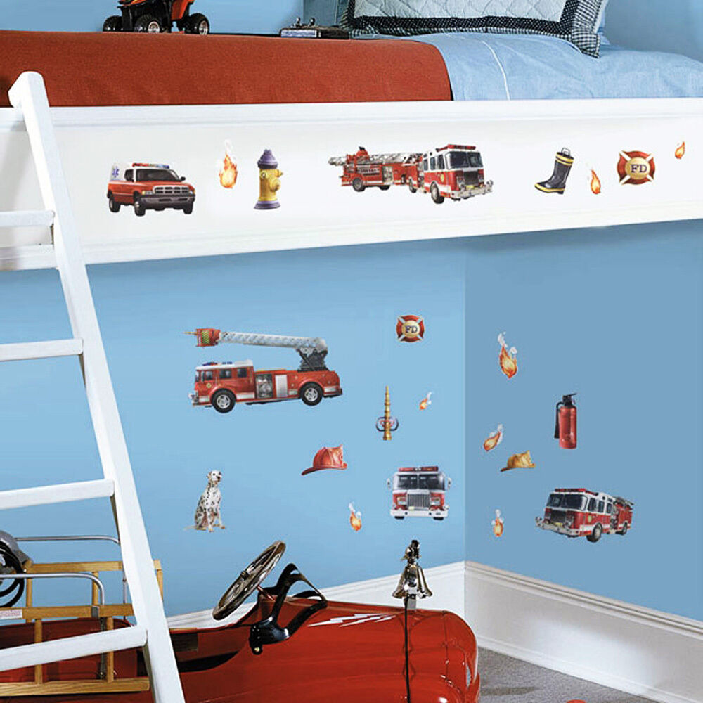 wandsticker wandtattoo feuerwehr kinderzimmer wandaufkleber deko auto 22 st ck ebay. Black Bedroom Furniture Sets. Home Design Ideas