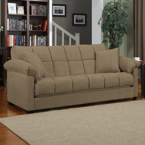 Mocha Sleeper Sofa Convertible Couch Full Bed Futon Living