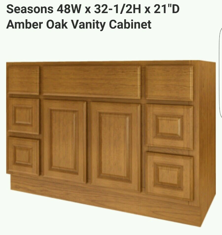 New Bathroom Vanity Drawer Base Cabinet Amber 48 Wide X 21 Deep Ebay