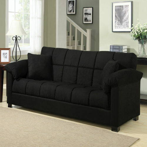 Black Sleeper Sofa Convertible Couch Full Bed Futon Living Room Furniture Gue