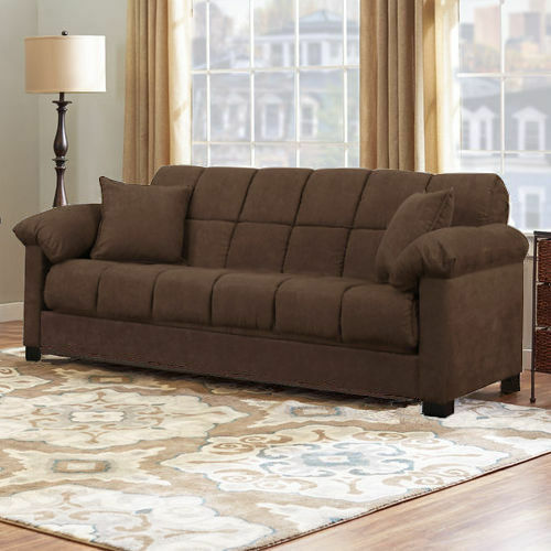 Brown sleeper sofa convertible couch full bed futon living room furniture guests ebay for Convertible living room furniture