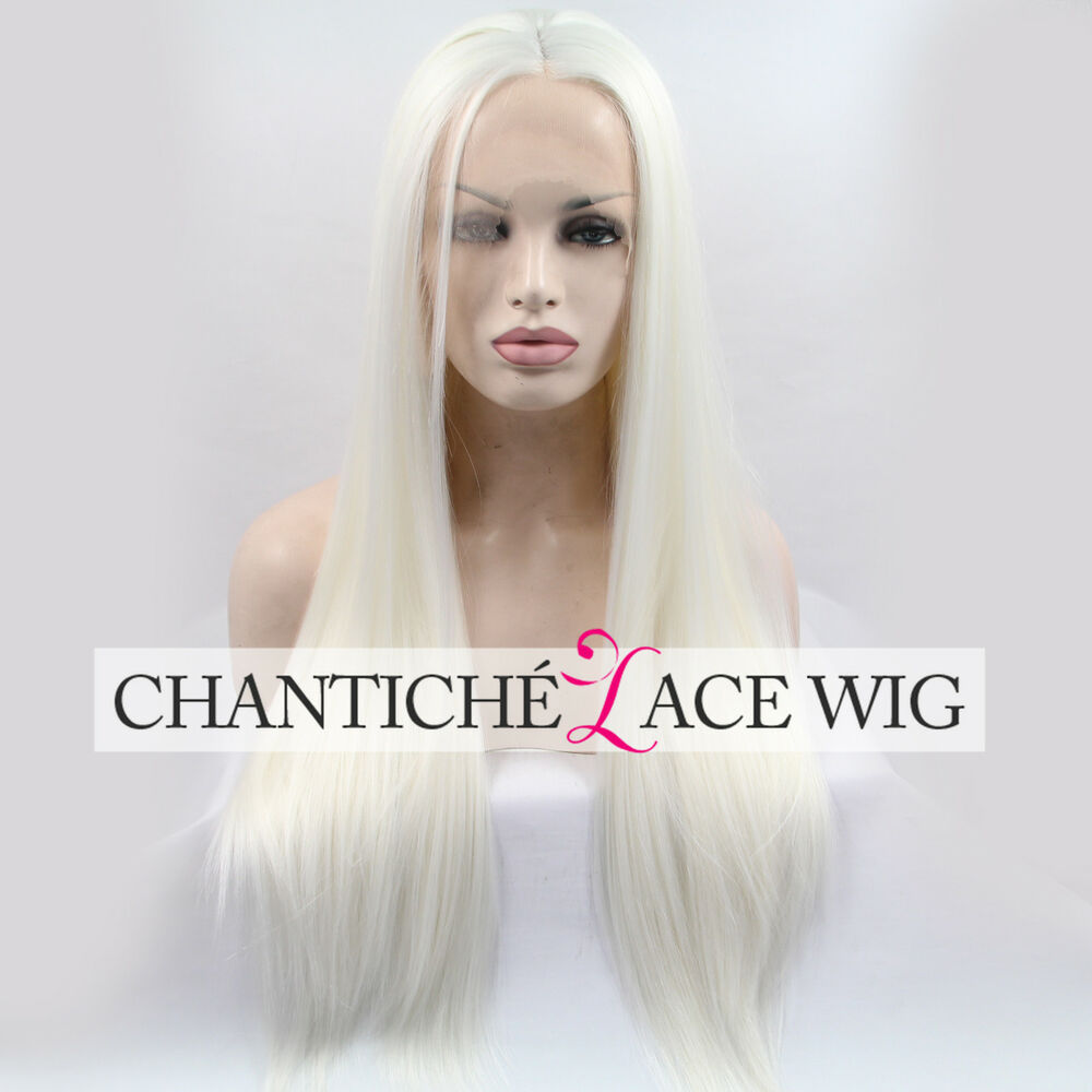 24 Quot White Platinum Blonde Synthetic Hair Lace Front Wigs