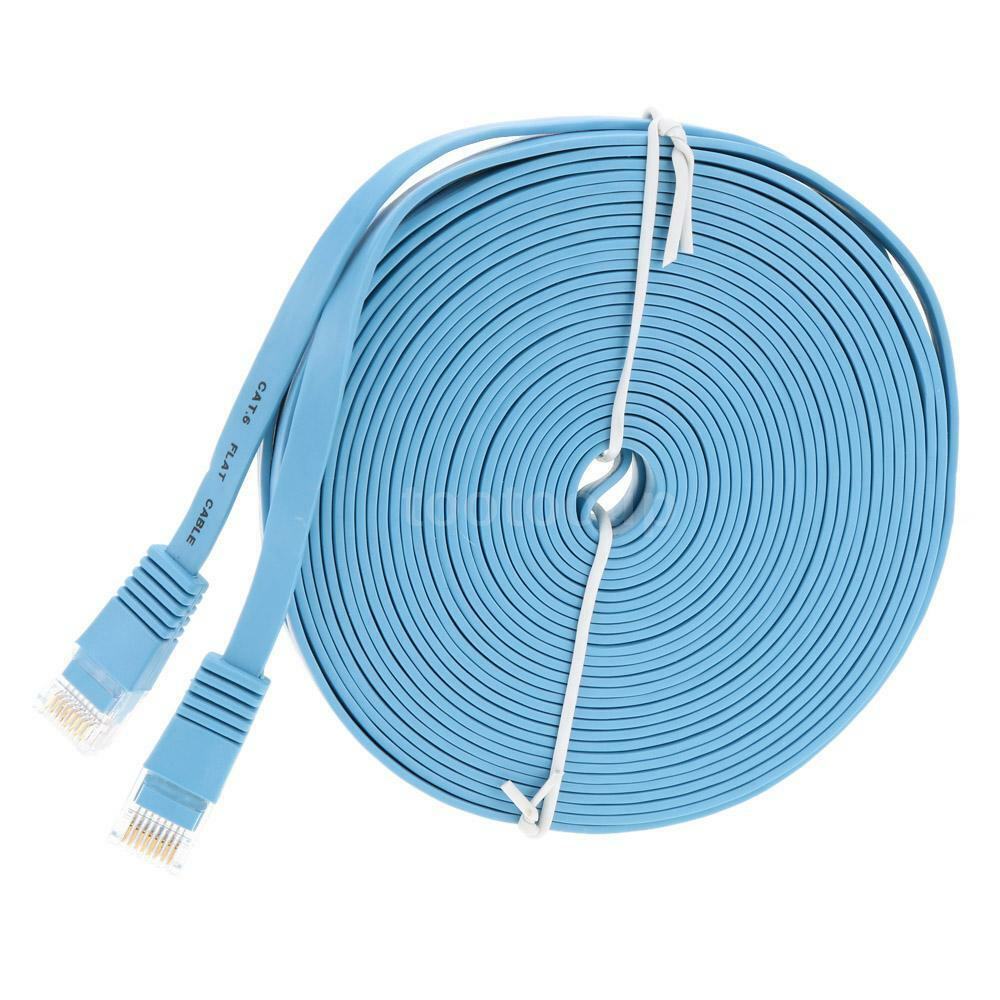 high quality 10m cat6 ethernet flat cable rj45 computer lan cord x4hh ebay. Black Bedroom Furniture Sets. Home Design Ideas