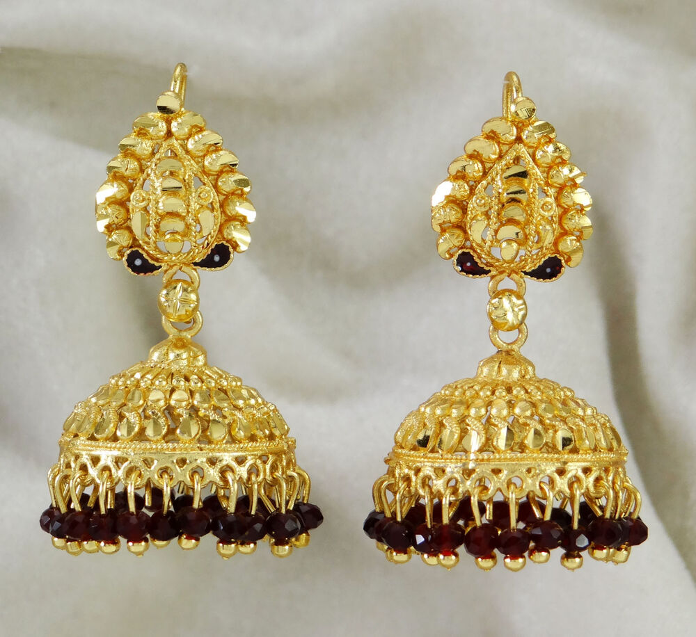 Gold Plated Necklace Earrings Set Indian Traditional: Traditional Indian Ethnic Gold Plated Dangle Jhumka