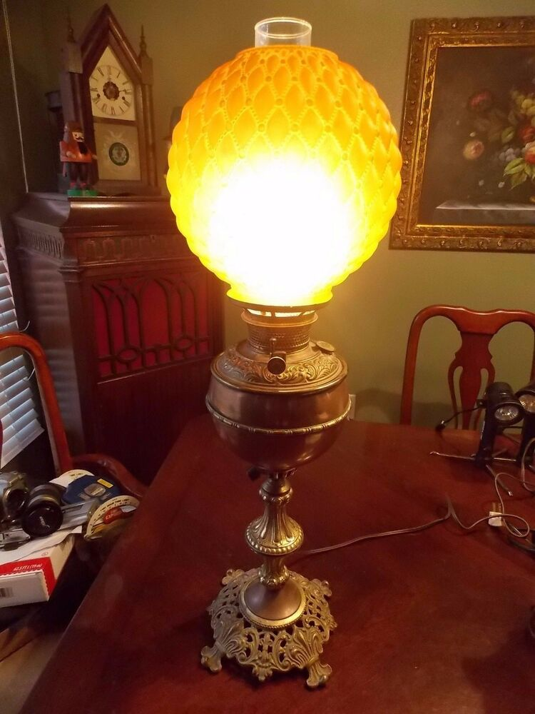 Antique Bradley Hubbard Oil Lamp With Rare Rust Brown