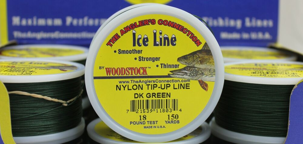 Woodstock ice fishing tip up line 18 test 150yd spool for Braided ice fishing line