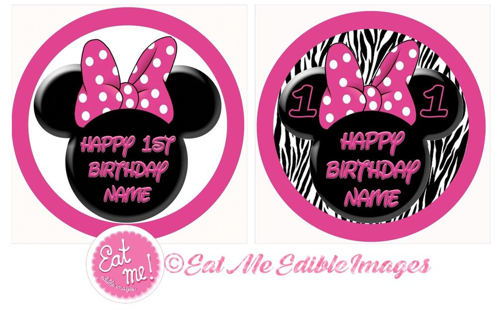 Minnie Mouse Ears Personalised Edible Image Real Icing