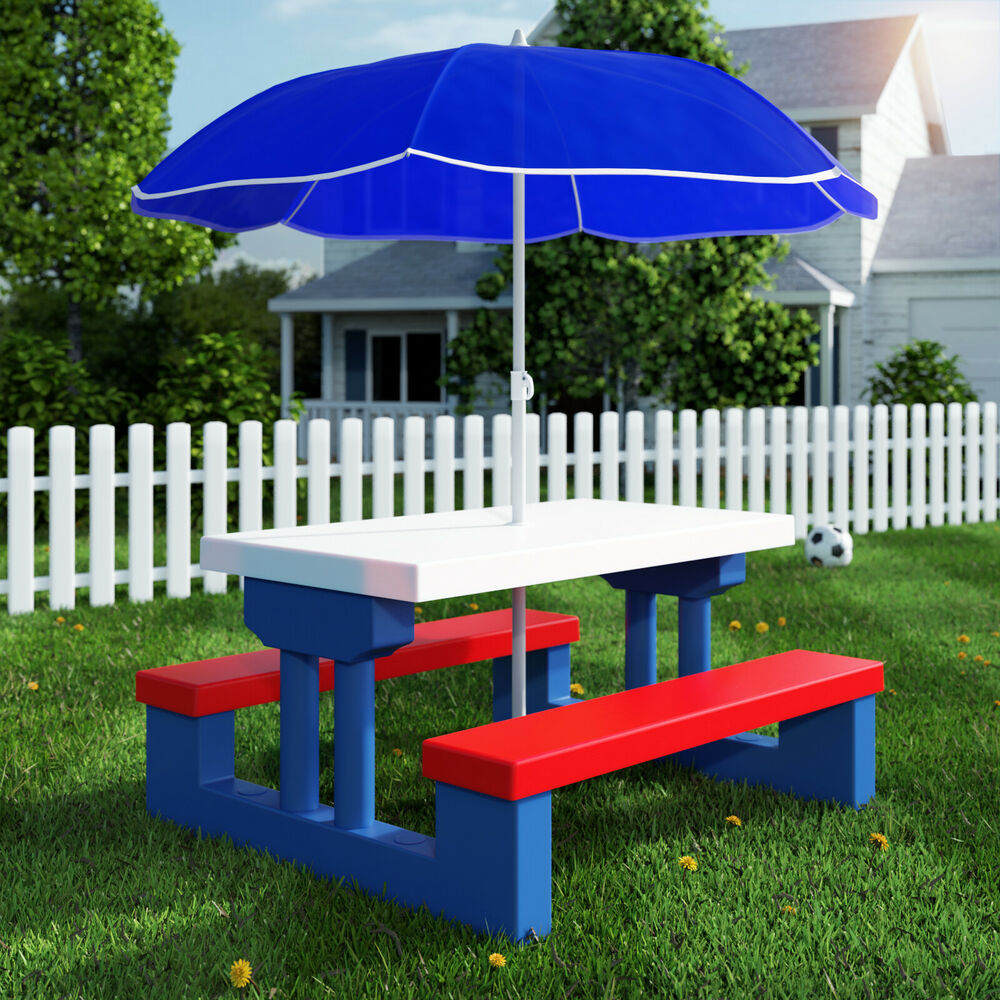 ensemble table bancs et parasol de jardin pour enfants jeux activit ext rieur ebay. Black Bedroom Furniture Sets. Home Design Ideas