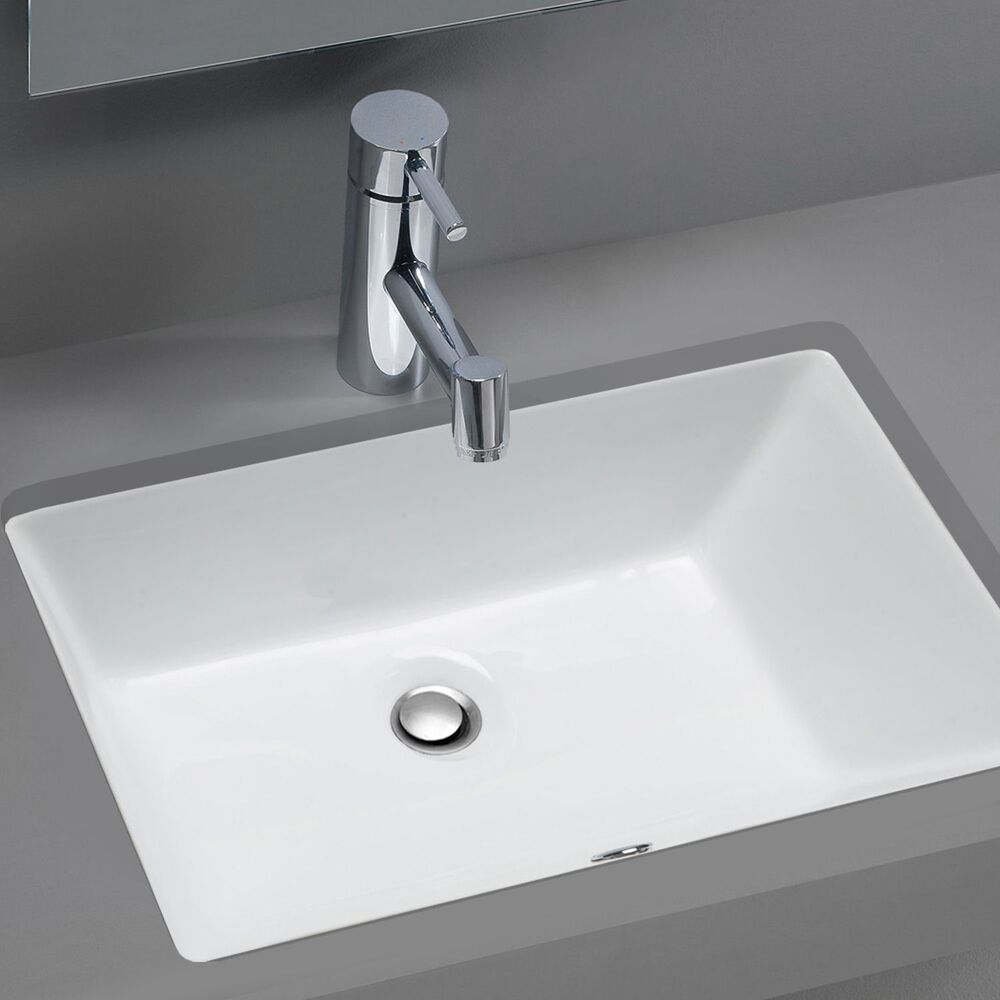 Stahl ceramic medium undermount rectangular bowl bath sink for Latest bathroom sinks