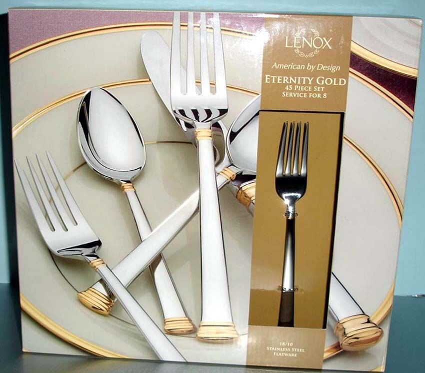 Lenox Eternity Gold 45 Piece Stainless Flatware Service