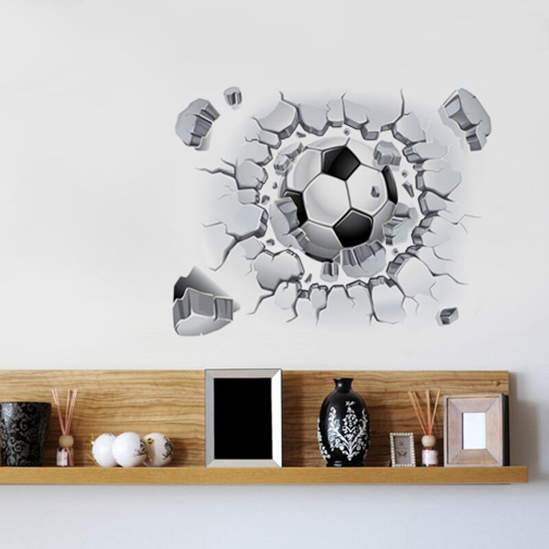 Removable 3d football wall sticker mural art vinyl decal for Sticker mural 3d