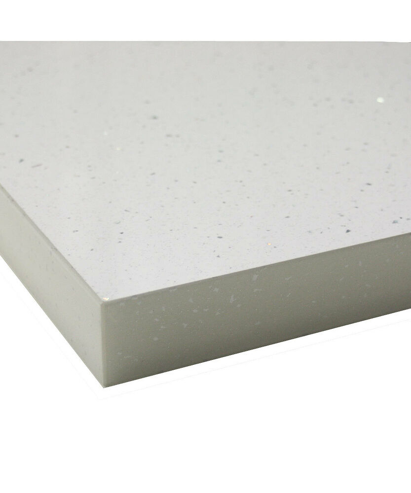 White Laminate Kitchen Worktops: 3m White Andromeda Gloss Sparkle 40mm Square Edge Laminate Worktop - Fast & Free