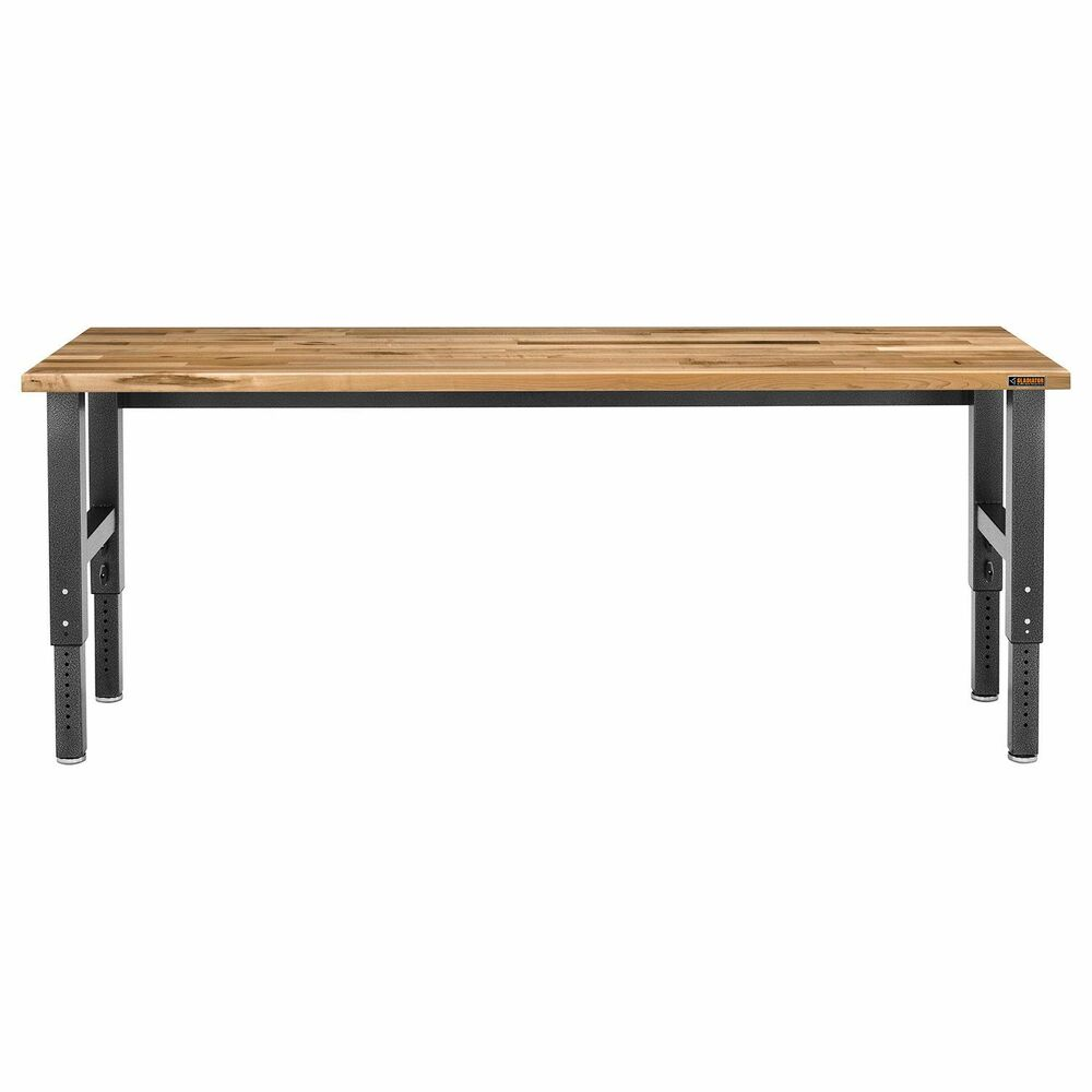 Olympia 4 Ft W X 5 Ft H X 2 Ft D Black Steel Workbench: Gladiator 8-ft Hardwood Top Adjustable Height Workbench