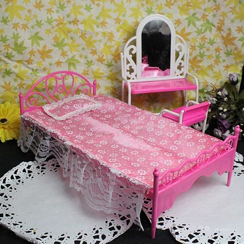 Plastic miniatures bedroom furniture single bed for barbie dolls dollhouse chic ebay Plastic bedroom furniture