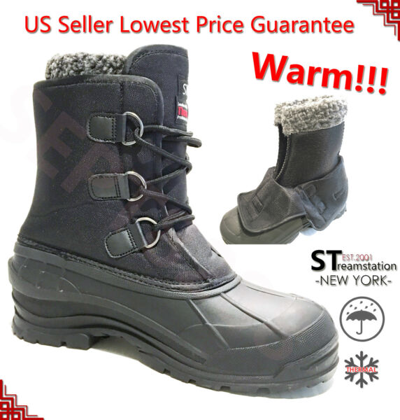 Men's Black Winter Snow Boots Shoes Warm Lined Thermolite Waterproof 10