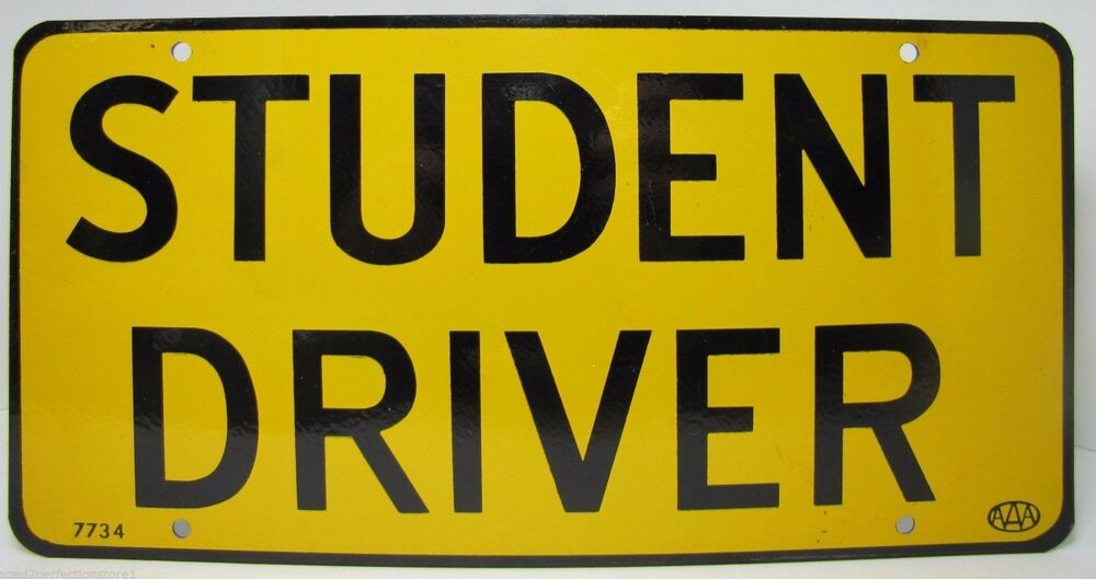 old orig aaa student driver metal license plate yellow black car auto metal sign ebay. Black Bedroom Furniture Sets. Home Design Ideas