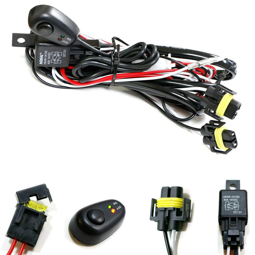 H11 H8 Relay Harness Wire Kit + LED ON/OFF Switch For Fog Lights HID