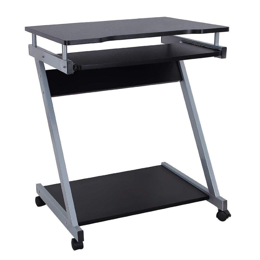 Compact computer desk w wheels student writing table dorm