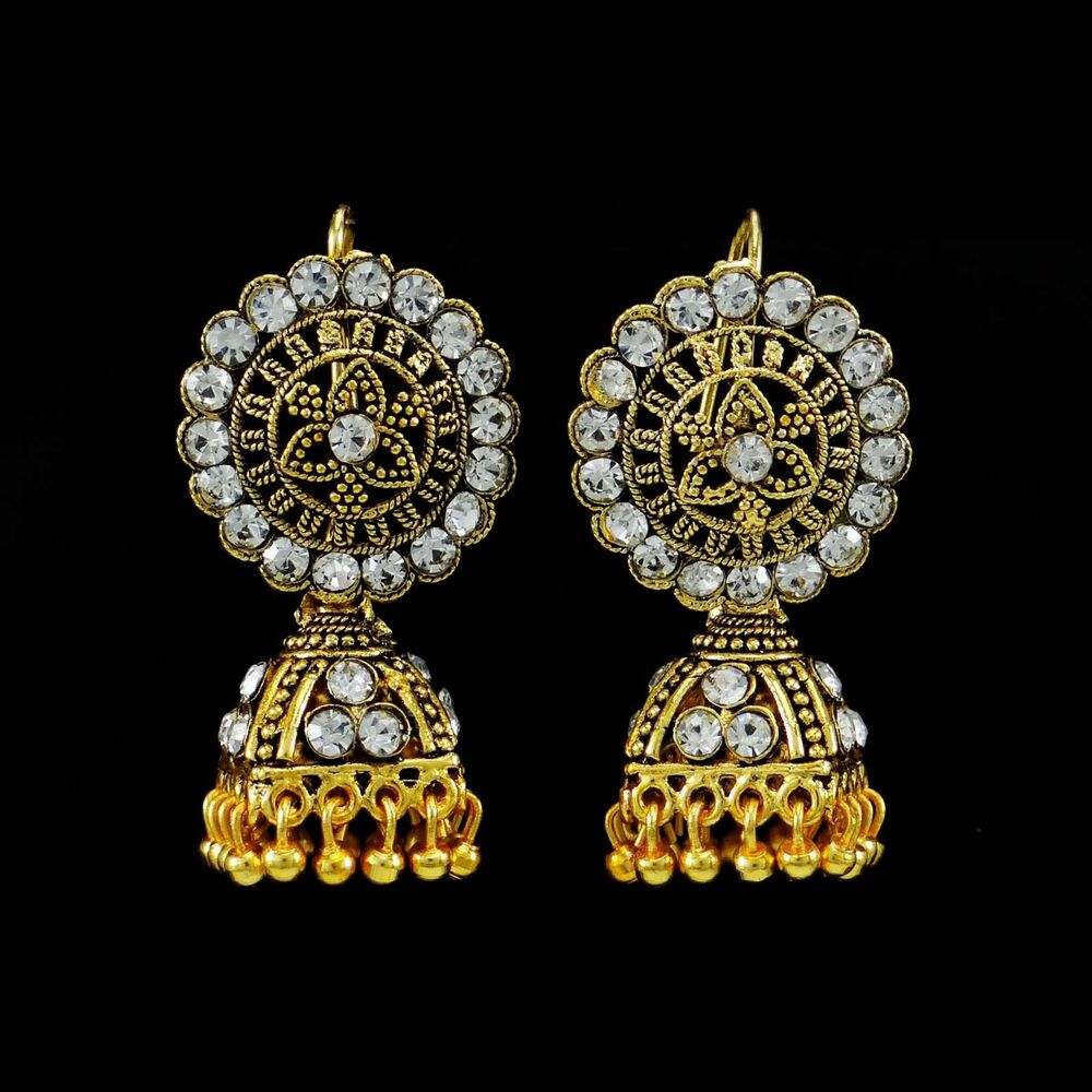 Gold Plated Necklace Earrings Set Indian Traditional: Ethnic Traditional Indian CZ Gold Plated Jhumka Earrings