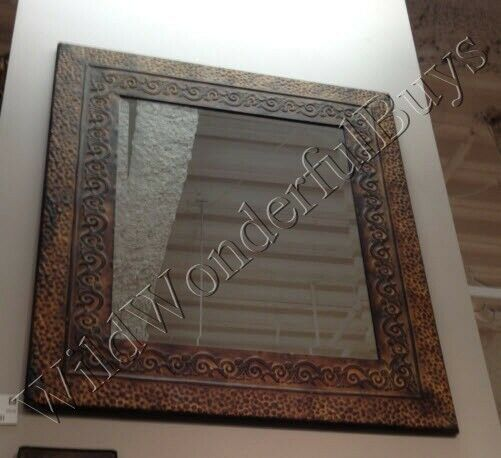 Embossed Hammered Metal Wall Mirror Rectangular Antique