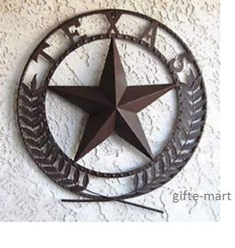Vintage Star Wall Decor : Rusty vintage texas lone star emblem large metal wall art